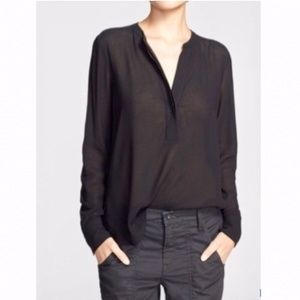 Vince black split neck long sleeve blouse size 12